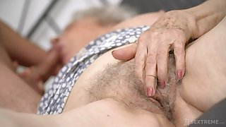 Senile granny with obese bowels Norma B gets intimate with young man