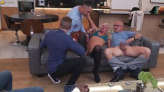Titillating Muted Housewife Gets Fucked Relating to Both Holes By Three Guys And All Her Boyfriend Can Do Is Watch. - MatureNL