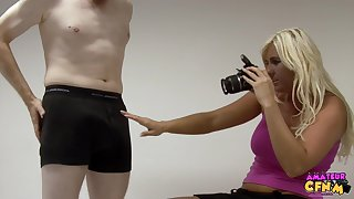 Blonde photographer enjoys stoking dick of her client - Donna Mills