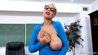MILF roughly huge melons, naughty classroom POV sex on a big dong