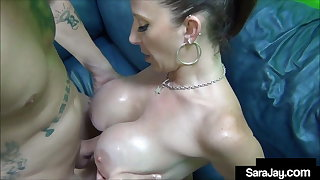 PAWG Milf Sara Jay Oils Up Her Big Pussy For Near the end b drunk Fucking!