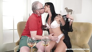 Old man fucks his sensual niece and cums inside her