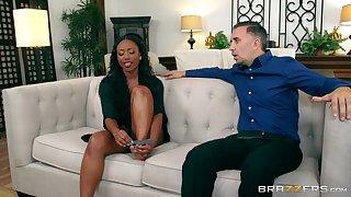 Ebony beauty soaks her face in along to white man's load