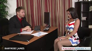 Horny secretary with awesome big boobies Rahyndee James is poked on the table