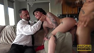 Tattooed babe roughly fucked in brutal scenes of maledom