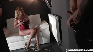 Blonde granny is super knife-edged getting fucked hard