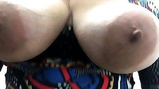 Russian brunette with big jugs in underthings