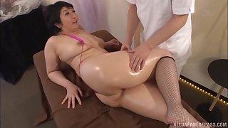 Oiled more massage leads to passionate fucking with Yagi Michika