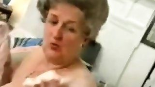 Old Granny  Striping absent Her  Lingerie  and  Playing