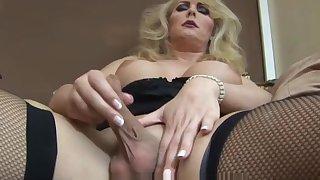 Mature blonde shemale solo masturbation moorland lingerie