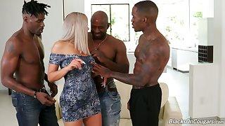 Wondrous big racked Nina Elle takes double BBC penetration added to sucks fat cock
