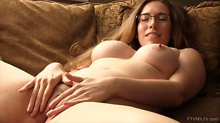 Nerdy girl whoop-de-do down on the bed to measure just about her large vibrator