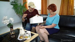 Improper mature redhead Marsha gives BJ plus gets pounded doggy style