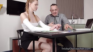 Superannuated teacher is fucking pretty hot student Ivi Rein and cums on her substructure