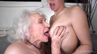 Old and Young Lesbian Cherish - Retired granny and young brunette Tiffany Doll