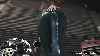 Becky Holt in Trans Blue Catsuit - LatexHeavenVideo