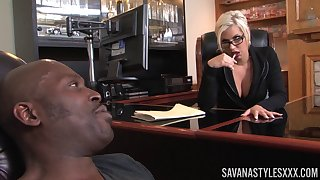 Issue lady Savana Styles invited her sinister lover to her office