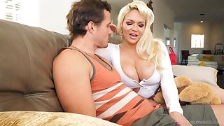 Amazing busty pretty good whore Kelly West gives incredibly good blowjob
